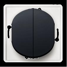 """Выключатель двухклавишный Aling Conel EON. Цвет """"Черный"""" (E606.E1)"""