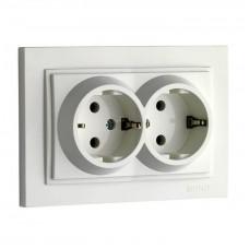 Розетка двойная с заземлением 16А серии Despina (Mono Electric) Белый