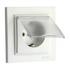 Розетка с крышкой и заземлением 10А серии Despina (Mono Electric) Белая