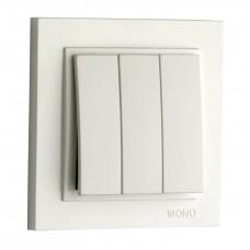 Выключатель трёхклавишный 10А серии Despina (Mono Electric) Белый