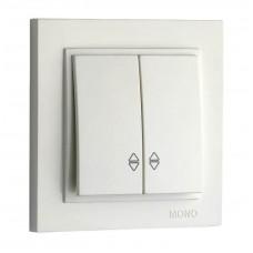Выключатель двухклавишный проходной 10А серии Despina (Mono Electric) Белый