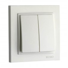 Выключатель двухклавишный 10А серии Despina (Mono Electric) Белый