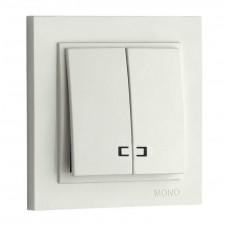 Выключатель двухклавишный с подсветкой 10А серии Despina (Mono Electric) Белый