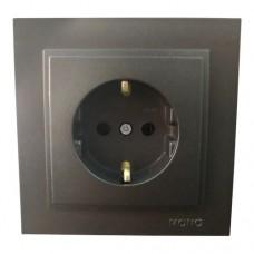 Розетка с заземлением одинарная серии Despina (Mono Electric). Цвет Графит