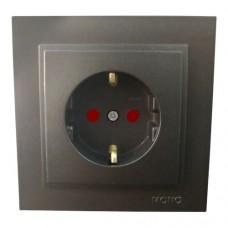 Розетка с заземлением и защитными шторками серии Despina (Mono Electric). Цвет Графит