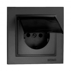 Розетка c заземлением и крышкой серии Despina (Mono Electric). Цвет Графит