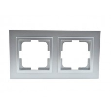 Рамка двухместная серии Despina (Mono Electric). Цвет Серебро