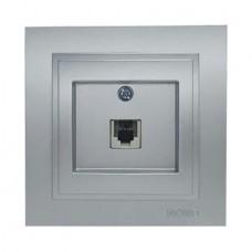 Розетка телефонная Евро (Rj11 623K) серии Despina (Mono Electric). Цвет Серебро