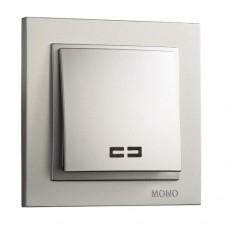 Выключатель одноклавишный с подсветкой серии Despina (Mono Electric). Цвет Серебро