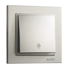 Выключатель одноклавишный проходной серии Despina (Mono Electric). Цвет Серебро