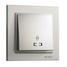 Выключатель одноклавишный проходной с подсветкой серии Despina (Mono Electric). Цвет Серебро