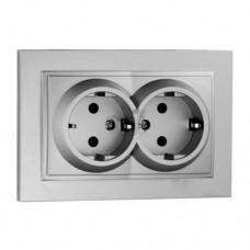 Розетка c заземлением двойная серии Despina (Mono Electric). Цвет Серебро