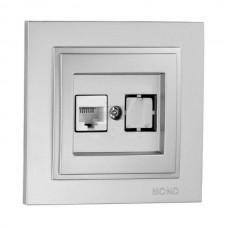 Розетка компьютерная (Rj45 Cat 6) серии Despina (Mono Electric). Цвет Серебро