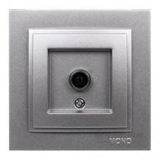Розетка TV проходная с экраном (11 dB) серии Despina (Mono Electric). Цвет Серебро