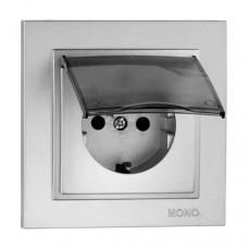 Розетка c заземлением и крышкой серии Despina (Mono Electric). Цвет Серебро