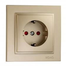 Розетка с заземлением и защитными шторками серии Despina (Mono Electric). Цвет Титан