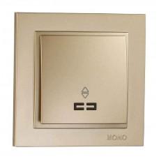Выключатель одноклавишный проходной с подсветкой серии Despina (Mono Electric). Цвет Титан