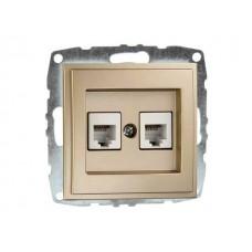 Механизм  двойной телефонной розетки цифровой (RJ11 CAT3A) серии Despina (Mono Electric) Кремовая с панелью