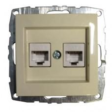 Механизм компьютерной+телефонной розетки серии Despina (Mono Electric) Кремовый с панелью