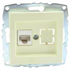 Механизм компьютерной розетки с панелью + пустой механизм серии Despina (Mono Electric) Кремовый