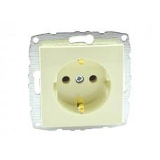 Механизм розетки с заземлением 10А серии Despina (Mono Electric) Крем с панелью