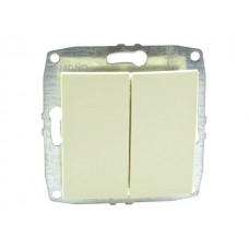 Механизм выключателя двухклавишного 10А серии Despina (Mono Electric) Кремовый с клавишей