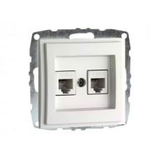 Механизм  двойной телефонной розетки цифровой (RJ11 CAT3A) серии Despina (Mono Electric) Белая с панелью