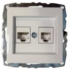 Механизм компьютерной+телефонной розетки серии Despina (Mono Electric) Белая с панелью