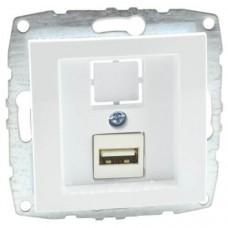 Механизм USB-розетки серии Despina (Mono Electric) Белая с панелью