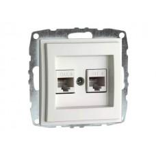 Механизм двойной компьютерной розетки с панелью + пустой механизм серии Despina (Mono Electric) Белый