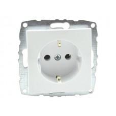 Механизм розетки с заземлением 10А серии Despina (Mono Electric) Белая с панелью