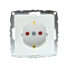 Механизм розетки с заземлением и защитой от детей 16А серии Despina (Mono Electric) Белая с панелью