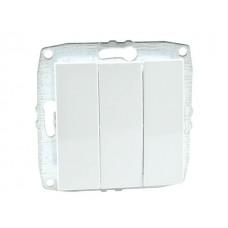 Механизм выключателя трёхклавишного 10А серии Despina (Mono Electric) Белый с клавишей