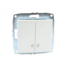 Механизм выключателя двухклавишные проходного 10А серии Despina (Mono Electric) Белый с клавишей