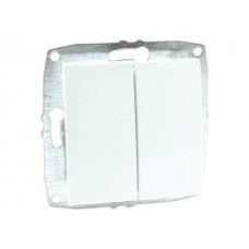 Механизм выключателя двухклавишные 10А серии Despina (Mono Electric) Белый с клавишей