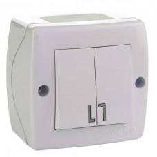 Выключатель двухклавишный серии Octans (Mono Electric). Цвет Белый