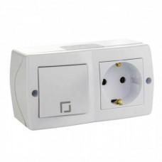 Выключатель одноклавишный + розетка с заземлением серии Octans (Mono Electric). Цвет Белый