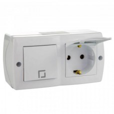 Выключатель одноклавишный + розетка с крышкой и заземлением серии Octans (Mono Electric). Цвет Белый