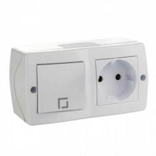 Выключатель одноклавишный + розетка без заземления серии Octans (Mono Electric). Цвет Белый