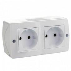 Розетка двойная без заземления серии Octans (Mono Electric). Цвет Белый