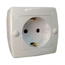 Розетка с заземлением серии Octans (Mono Electric). Цвет Белый