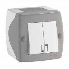 Выключатель двухклавишный серии Octans (Mono Electric). Цвет Серый