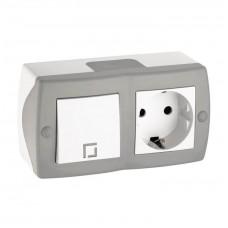 Выключатель двухклавишный + розетка без заземления серии Octans (Mono Electric). Цвет Серый