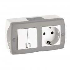 Выключатель двухклавишный + розетка с заземлением серии Octans (Mono Electric). Цвет Серый