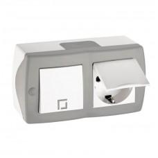 Выключатель одноклавишный + розетка с крышкой и заземлением серии Octans (Mono Electric). Цвет Серый