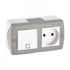 Выключатель одноклавишный + розетка без заземления серии Octans (Mono Electric). Цвет Серый