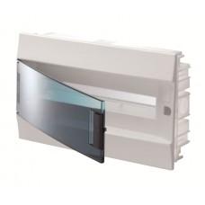 Шкаф распределительный IP41 Mistral встроенный, прозрачные двери 18M с винтовым N/PE клеммником, 22 подключений (1SLM004101A1204)