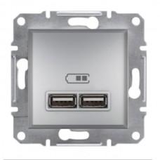 """Механизм USB-розетки Asfora Schneider Electric 2.1 A (2 входа), цвет """"Алюминий"""""""