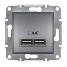 """Механизм USB-розетки Asfora Schneider Electric 2.1 A (2 входа), цвет """"Сталь"""""""