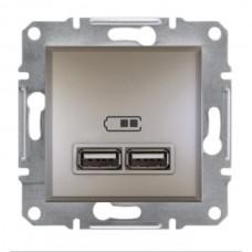 """Механизм USB-розетки Asfora Schneider Electric 2.1 A (2 входа), цвет """"Бронза"""""""
